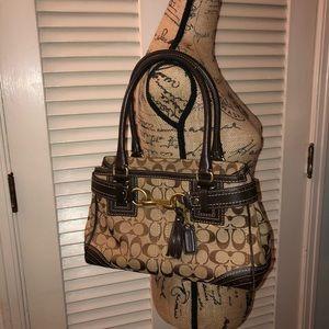 Coach tan monogram & brown leather purse